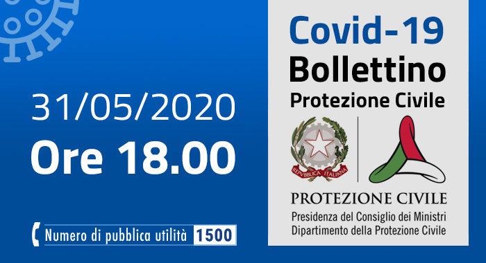 Covid-19, i casi in Italia: 31 maggio ore 18