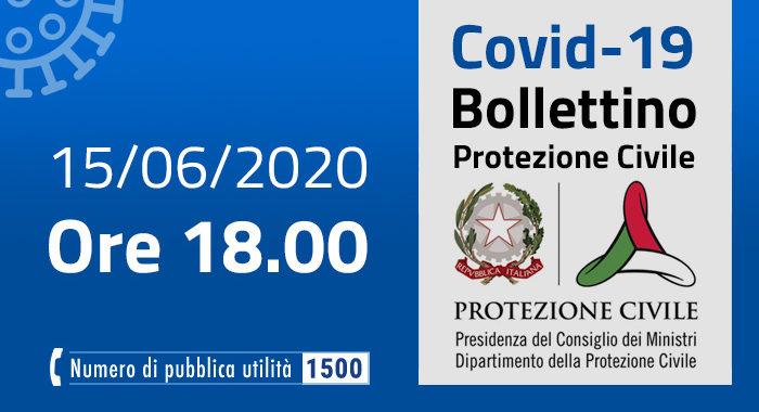Covid-19, i casi in Italia: 15 giugno ore 18
