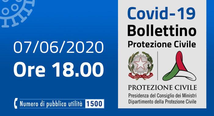 Covid-19, i casi in Italia: 7 giugno ore 18