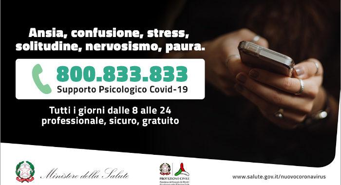 Covid-19, oltre 50mila telefonate al numero verde di supporto psicologico 800.833.833