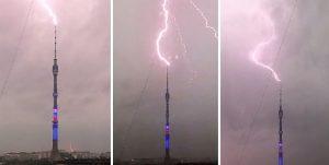 Fulmini colpiscono 10 volte la torre televisiva Ostankino di Mosca