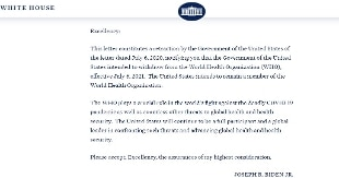 Biden conferma in una lettera: Stati Uniti di nuovo dentro l'Oms